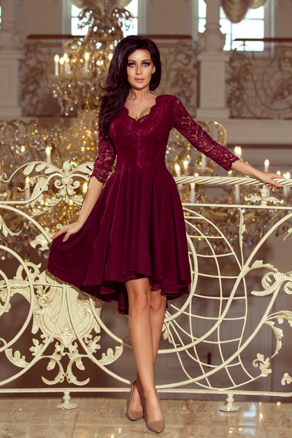 Společenské krajkové šaty s 3 4 rukávem vínové beeefc239d