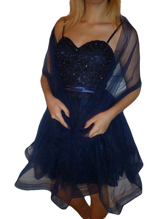 01 Plesové společenské šaty koktejlky s květinkami modré 1c66491408