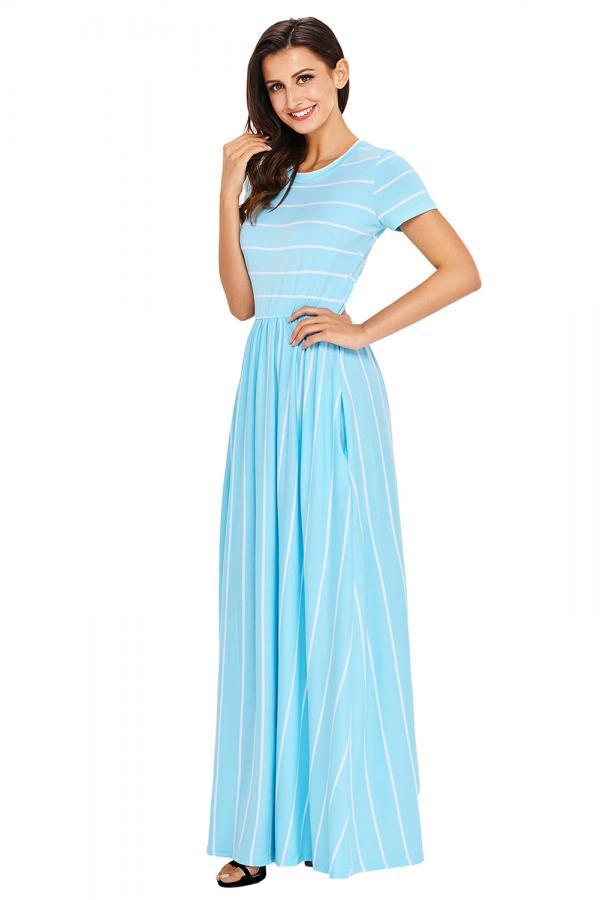 8dffead9079 Dámské letní maxi šaty s krátkým rukávem pruhované modré