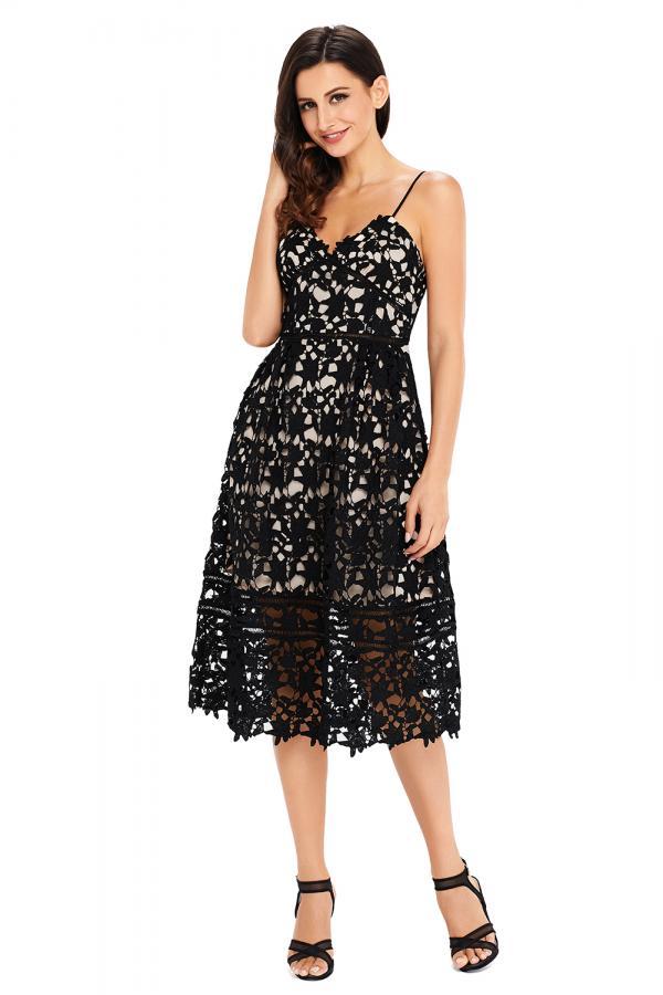 Krajkové společenské šaty nahá iluze černé 1b467d7e42