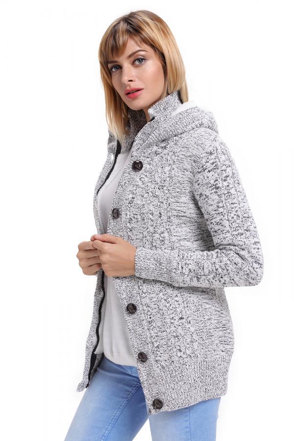 Dámský dlouhý svetr s kapucí šedý fdcc123a99