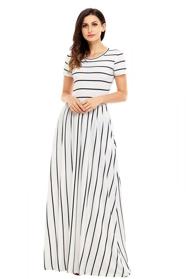 732f366160d Dámské letní maxi šaty s krátkým rukávem pruhované bílé
