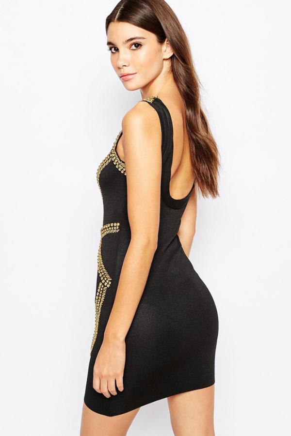 01 Společenské černé šaty se zlatým potiskem 7891dfcbe7