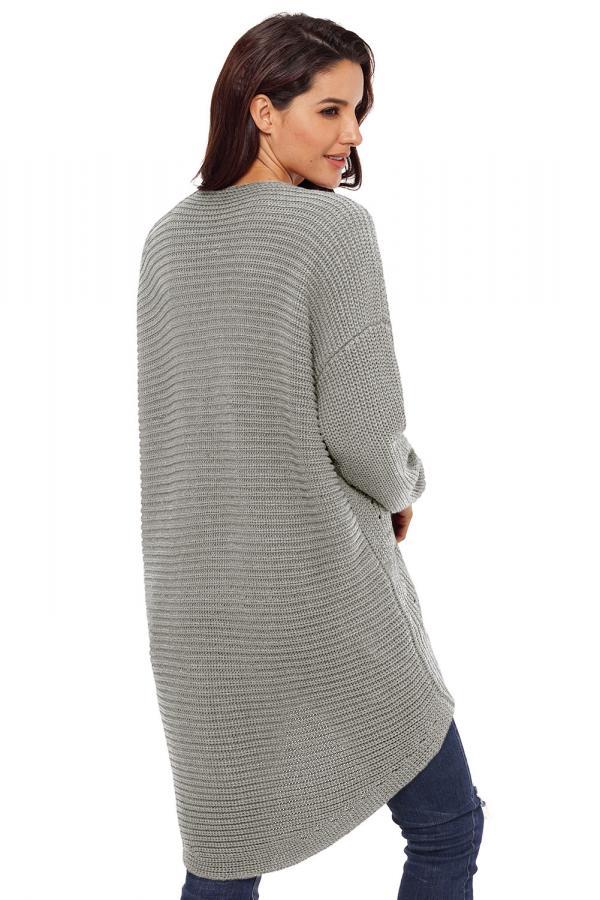 Dámský pletený svetr maxi šedý c36395fff7
