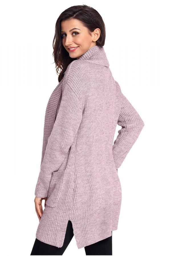 ab35ab9937b2 Dámský pletený svetr dlouhý růžový