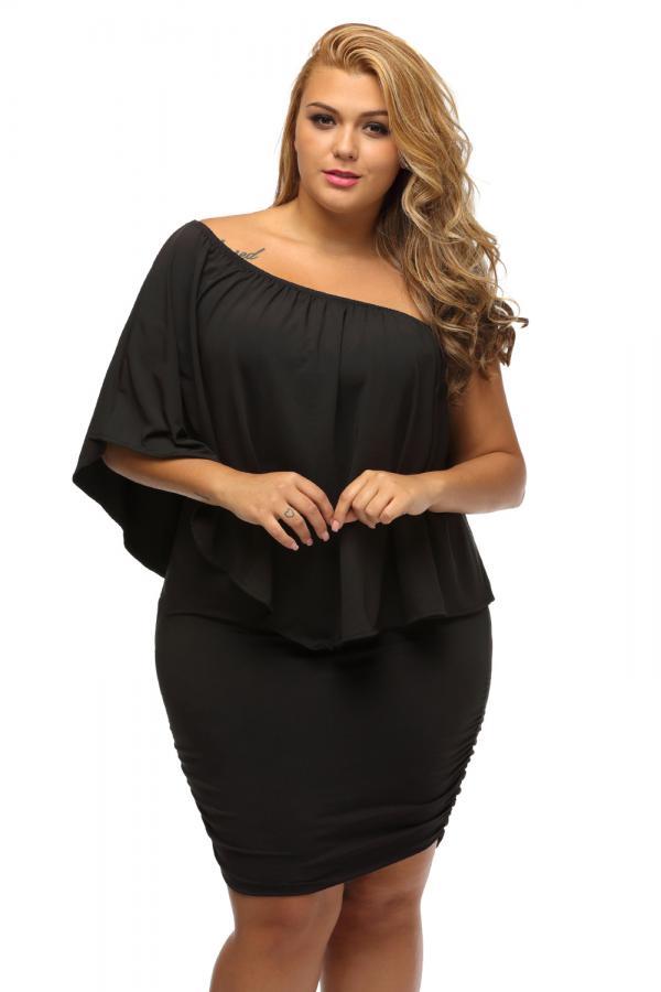 7d73b0123ef1 03 Společenské šaty pro plnoštíhlé mini černé