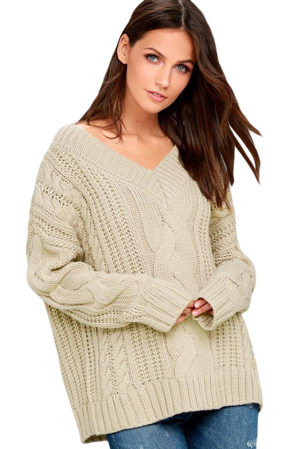 8216b3f9799 Dámský pletený svetr béžový