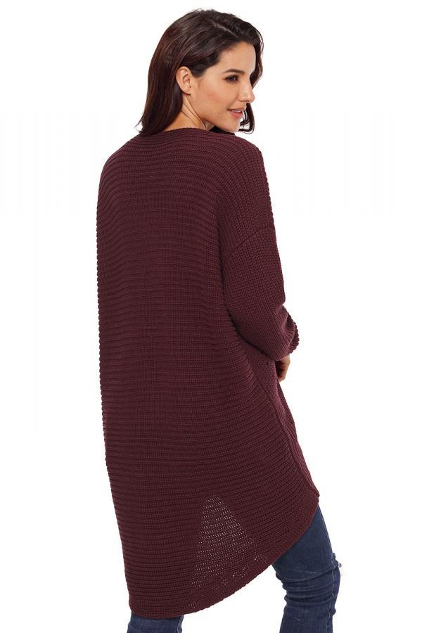 Dámský pletený svetr maxi vínový 5ac08b5873
